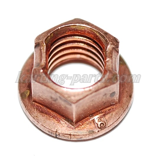 Flange nut M8, 10mm wrench, copper-plated steel